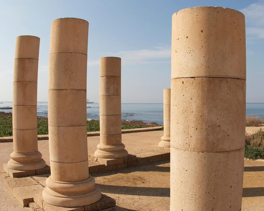 """Pillars in Herod the Great's """"Reef"""" or """"Promontory Palace"""" complex, probably the site of Paul's hearing and trial (Acts 25:1–26:32)."""