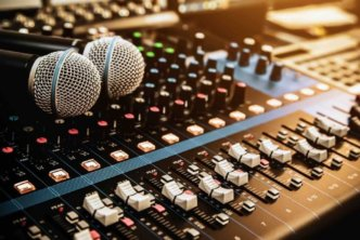 church technology example: sound console and microphones