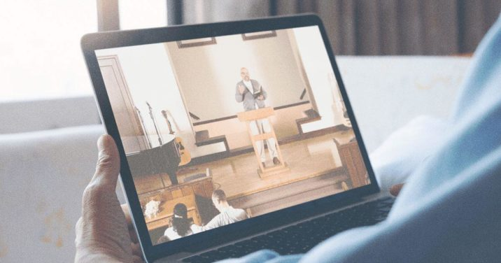visitor watching church online on tablet
